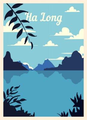 Plakat Retro poster Ha Long city skyline vintage, vector illustration.