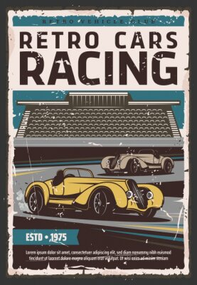 Plakat Retro racing cars on track. Race sport, motorsport, rally and vintage vehicle club posters. Vintage vehicles on race track with tribune on background, old poster