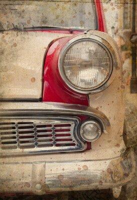 Plakat retro samochód reflektorów