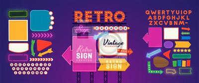 Plakat Retro signboard creator. Set elements for street sign. Scene creator, neon sign. Retro font. Advertising space.