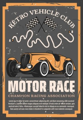 Plakat Retro sport car with auto racing flags and motorsport racetrack vector design. Vintage vehicle club, motor show, rally tournament or automobile racing poster of sporting competition themes