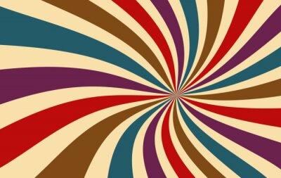 Plakat retro starburst lub sunburst tło wektor wzór z ciemną paletą kolorów vintage czerwony fioletowy niebieski brązowy i beżowy w spiralnej lub wirowanej promieniowej paski