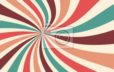 Plakat retro starburst lub sunburst tło wektor wzór z rocznika paletą koloru czerwonego różowego brzoskwiniowego błękitno-brązowego i beżowego w spiralnym lub wirowym pasiastym projekcie