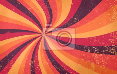 Plakat retro starburst sunburst background pattern and grunge textured vintage autumn color palette of burgundy red pink peach orange yellow and purple brown in spiral or swirled radial striped design