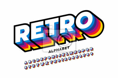 Plakat Retro style colorful font design, alphabet letters and numbers