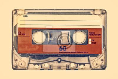 Plakat Retro stylem obraz starej kompaktowej kasety