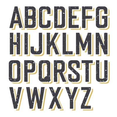Plakat Retro stylem teksturowane Alfabet
