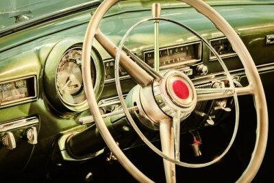 Plakat Retro stylizowany wizerunek wnętrza klasycznego samochodu