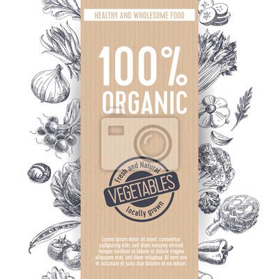 Plakat Retro tła żywności organicznej.