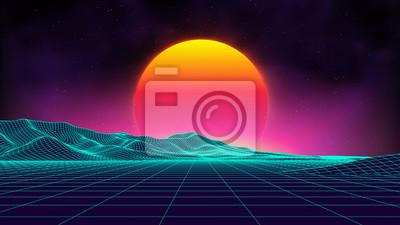 Plakat Retro tło futurystyczny krajobraz 1980s stylu. Cyfrowe retro krajobraz powierzchni cyber. Szablon coveru albumu z muzyką retro: słońce, przestrzeń, góry. Lat 80. Retro Sci-Fi Tło Lato Krajobraz.
