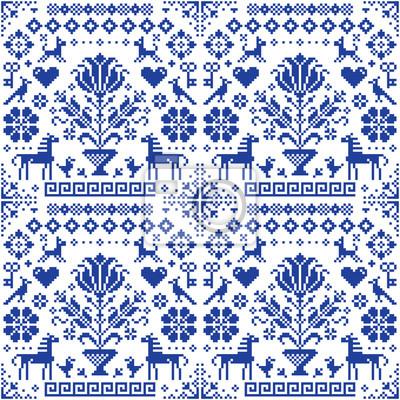 Plakat Retro tradycyjny cross-stitch wektor bez szwu wzór - powtarzające się tło inspirowane niemiecki stary styl haftu z kwiatami i zwierzętami