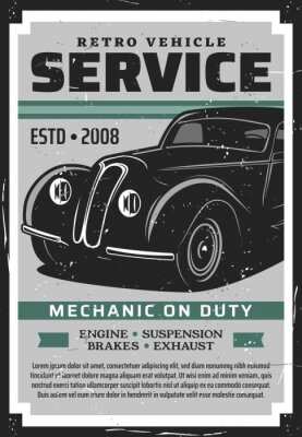Plakat Retro vehicle auto repair service vector poster with old car. Mechanic garage diagnostics, maintenance and restoration of vintage automobile engine, brakes, suspension and exhaust system