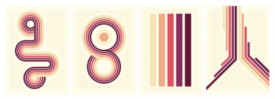 Plakat retro vintage 70s style stripes background poster lines. shapes vector design graphic 1970s retro background. abstract stylish 70s era line frame illustration