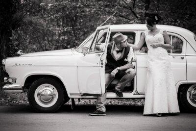 Plakat retro wedding car