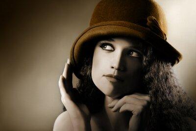 Plakat Retro zabytkowe Portret kobiety w kapeluszu