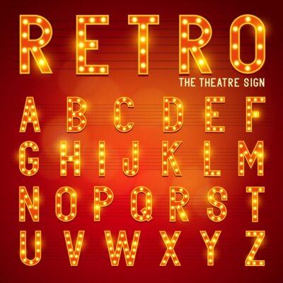 Plakat Retro żarówka Alfabet