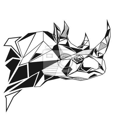 Rhinoceros stylizowany trójkąt wieloboczny modelu