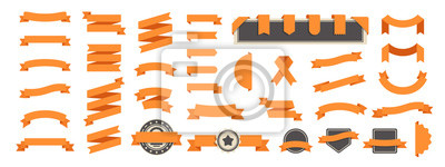 Plakat Ribbon banner set isolated on a white background. Orange color. Simple modern cute design. Labels, bookmarks and tags. Flat style vector illustration. Big collection.