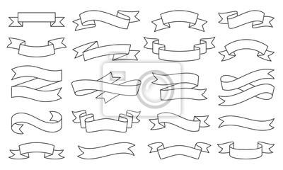 Plakat Ribbon simple black thin line icons vector set