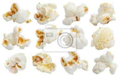 Plakat Rich collection of popcorn, isolated on white background