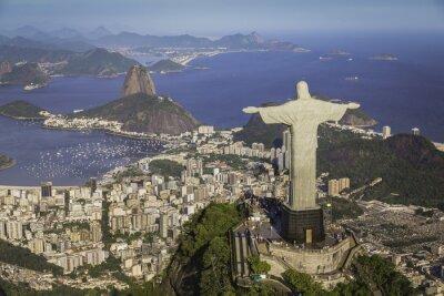 Plakat Rio de Janeiro, Brazylia: Widok z lotu ptaka Chrystusa i Botafogo Bay