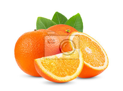 Plakat Ripe half of orange citrus fruit with leaf isolated on white background Full depth of field