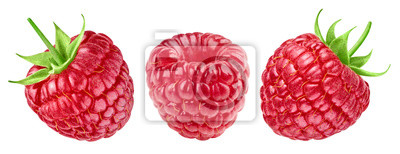 Plakat Ripe raspberries collection isolated on white background
