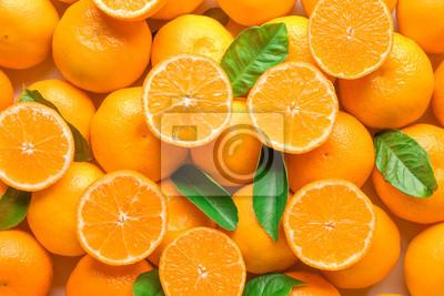 Plakat Ripe tasty tangerines as background
