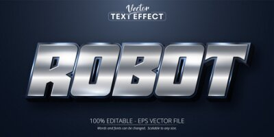 Plakat Robot text, shiny silver color style editable text effect