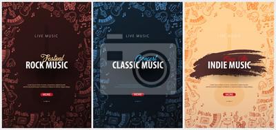 Plakat Rock, Classic, Indie Music Festival. Na wolnym powietrzu. Zestaw szablonów Flyers z ręcznie rysować doodle na tle.