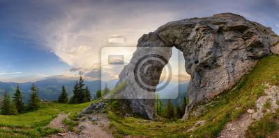 Plakat Rock Window in mountain landscape