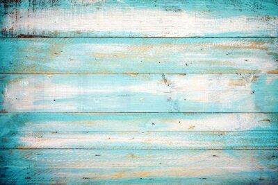 Plakat rocznik drewna beach tła - stary kolor niebieski drewniane deski