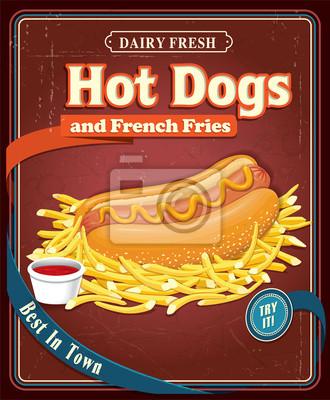 Rocznika gorący pies plakat projekt