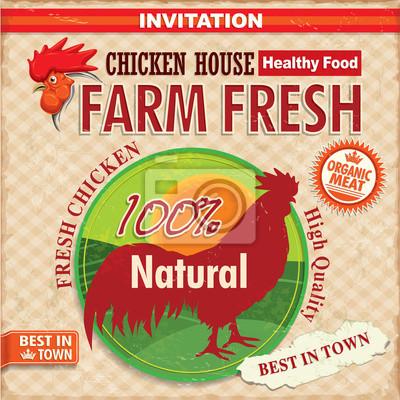 Rocznika gospodarstwo kurczaka świeży plakat