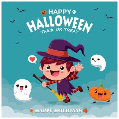 Rocznika Halloweenowy plakatowy projekt z wektorową czarownica charakterem.