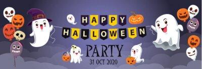 Rocznika Halloweenowy plakatowy projekt z wektorową czarownicą, duch, demon, Jack O Lantern, potwora charakter.