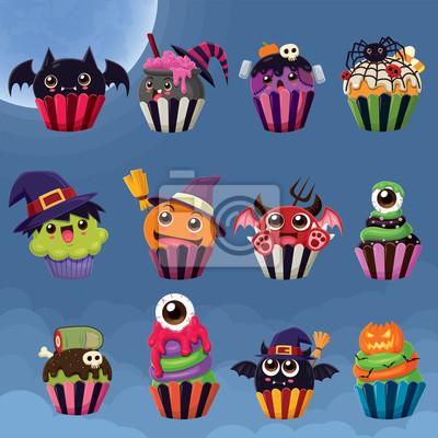Rocznika Halloweenowy plakatowy projekt z wektorową czarownicą, eliksir garnek, pająk, potwór, demon, gałka oczna, zombie, Jack O Lantern babeczki charakter.