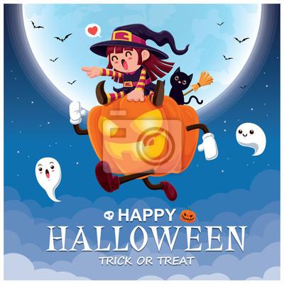 Rocznika Halloweenowy plakatowy projekt z wektorową czarownicą i Jack O Lantern charakterem.