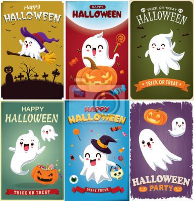 Rocznika Halloweenowy plakatowy projekt z wektorową czarownicą, nietoperz, duch, demon, Jack O Lantern, potwora charakter.