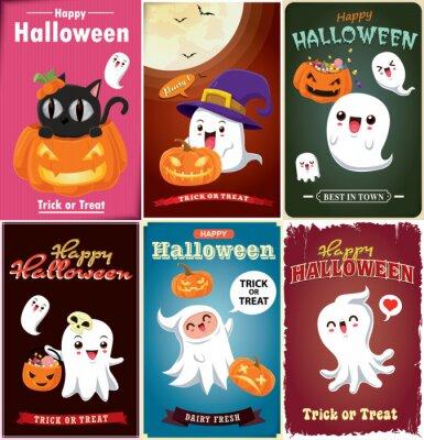 Rocznika Halloweenowy plakatowy projekt z wektorową czarownicą, nietoperz, duch, kot, demon, Jack O Lantern, potwora charakter.
