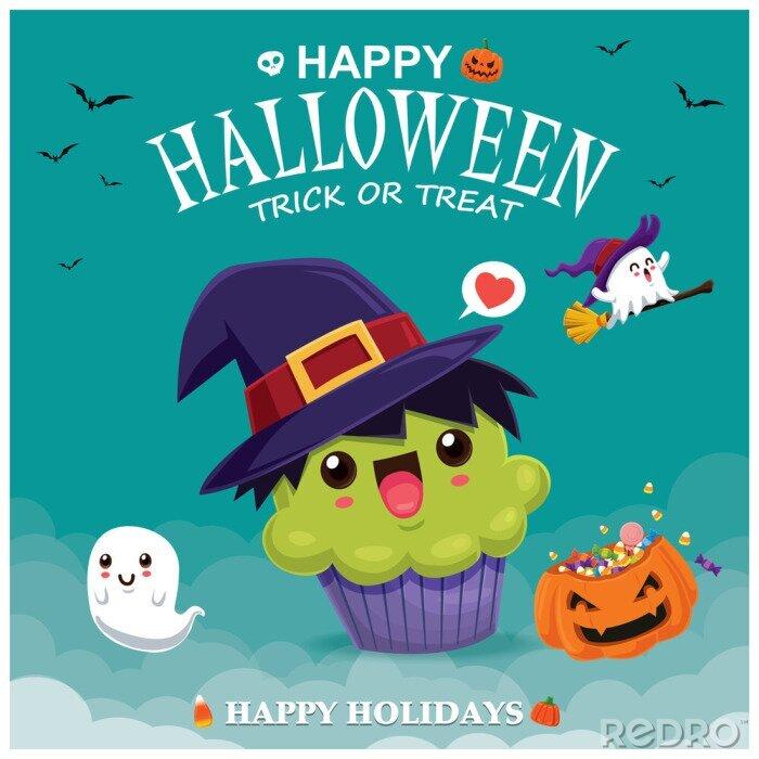 Plakat Rocznika Halloweenowy plakatowy projekt z wektorową czarownicy babeczką & ducha charakterem.