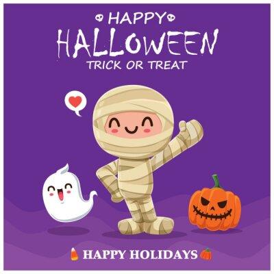 Rocznika Halloweenowy plakatowy projekt z wektorową mamusią charakterem.