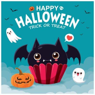 Rocznika Halloweenowy plakatowy projekt z wektorową nietoperza babeczką i ducha charakterem.