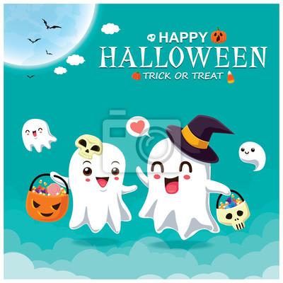 Rocznika Halloweenowy plakatowy projekt z wektorowym czarownica ducha charakterem.
