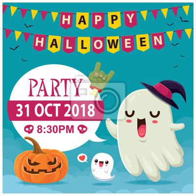 Rocznika Halloweenowy plakatowy projekt z wektorowym czarownica duchem i Jack O Lantern charakterem.