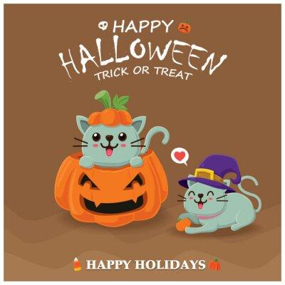 Rocznika Halloweenowy plakatowy projekt z wektorowym czarownica kota charakterem.