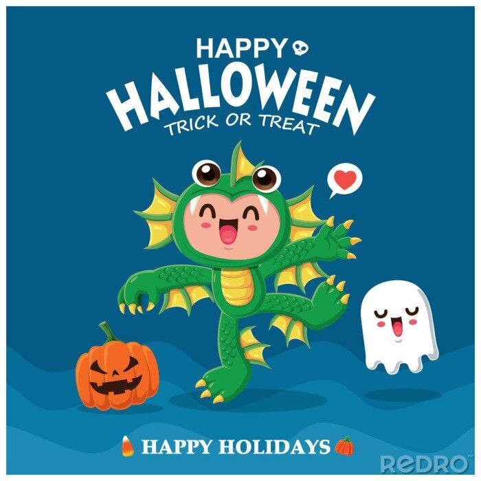 Plakat Rocznika Halloweenowy plakatowy projekt z wektorowym dennym istota charakterem.