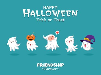 Rocznika Halloweenowy plakatowy projekt z wektorowym ducha charakterem.