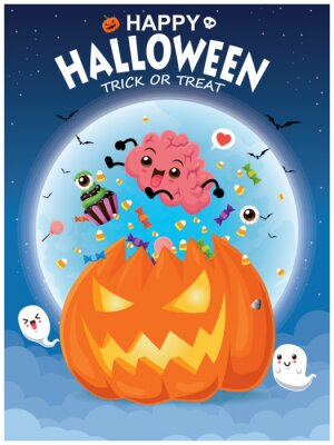 Rocznika Halloweenowy plakatowy projekt z wektorowym Jack O Lantern, mózg, duch, babeczki charakter.