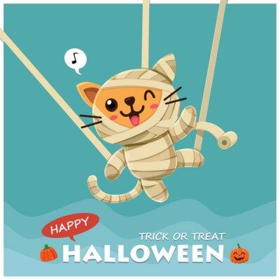 Rocznika Halloweenowy plakatowy projekt z wektorowym mamusia kota charakterem.